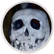 Scary Skull Round Beach Towel by Dan Sproul