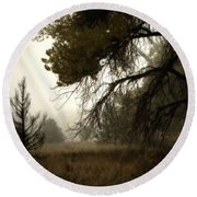 Scary Trees Round Beach Towel