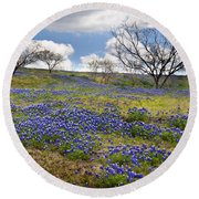 Scattered Bluebonnets Round Beach Towel