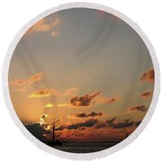 Scattered Clouds Round Beach Towel