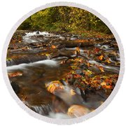Scattered Leaves Round Beach Towel by Mike  Dawson