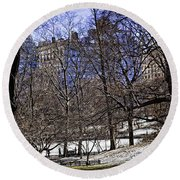 Scene From Central Park - Nyc Round Beach Towel by Madeline Ellis