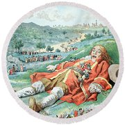 Scene From Gullivers Travels Round Beach Towel