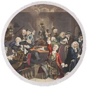 Scene In A Gaming House, Plate Vi Round Beach Towel