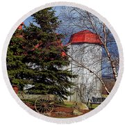 Scene In Vermont Round Beach Towel