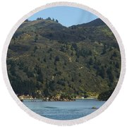 Scenery On Cook Strait Round Beach Towel