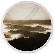 Scenery With Silhouettes Round Beach Towel