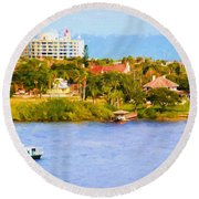 Scenes On The Water Round Beach Towel