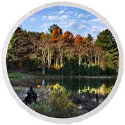Scenic Autumn At Oakley's Round Beach Towel