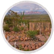 Scenic Boothill Cemetery In Tombstone Arizona Round Beach Towel