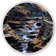 Scenic Cascade Round Beach Towel by Frozen in Time Fine Art Photography