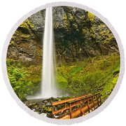 Scenic Elowah Falls In The Columbia River Gorge In Oregon Round Beach Towel