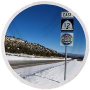 Scenic Highway 12 With Snow Utah Round Beach Towel