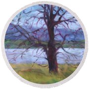 Scenic Landscape Painting Through Tree - Spring Has Sprung - Color Fields - Original Fine Art Round Beach Towel