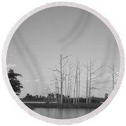 Scenic Swamp Cypress Trees Black And White Round Beach Towel