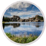 Scenic Sylvan Lake At Custer State Park Round Beach Towel