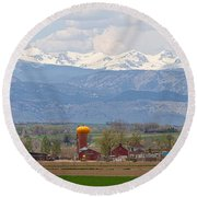Scenic View Looking Over Anderson Farms Up To Rockies Round Beach Towel