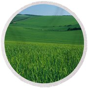 Scenic View Of A Field, South Downs Round Beach Towel