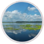 Scenic View Of A Lake Against Cloudy Round Beach Towel