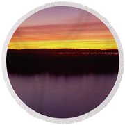 Scenic View Of A Lake At Dusk, Kisajno Round Beach Towel