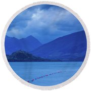 Scenic View Of A Lake At Dusk, Lake Round Beach Towel