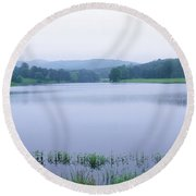 Scenic View Of A Lake, Bernheim Round Beach Towel