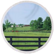 Scenic View Of Horse Farm, Woodford Round Beach Towel