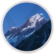 Scenic View Of Mountain At Dusk Round Beach Towel