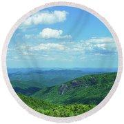 Scenic View Of Mountain Range, Blue Round Beach Towel
