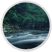 Scenic View Of Waterfall, Teesdale Round Beach Towel