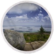 Scenic View With Boulder On Top Of Cadilac Mountain Round Beach Towel