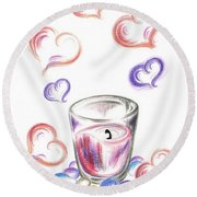 Scented Candle With Love Round Beach Towel