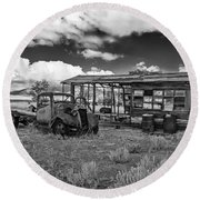 Schellbourne Station And Old Truck Round Beach Towel by Robert Bales