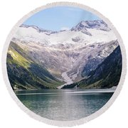 Schlegeis Dam And Reservoir  Round Beach Towel
