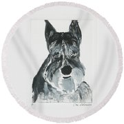 Schnauzing Around Round Beach Towel