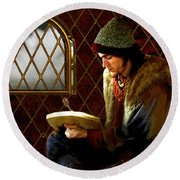 Scholar By Moonlight Round Beach Towel