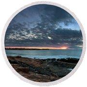 Schoodic Point Sunrise 7218 Round Beach Towel