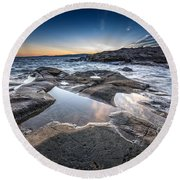 Schoodic Reflections Round Beach Towel