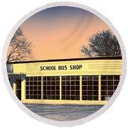 School Bus Repair Shop Round Beach Towel