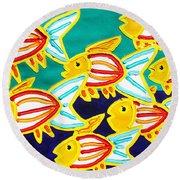 School Of Fish Round Beach Towel