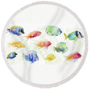 School Of Tropical Fish Round Beach Towel