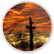 School Totem Pole Sunrise Round Beach Towel