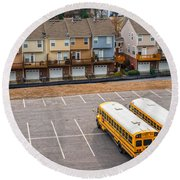 Schoolbuses And Colorful Houses - Atlanta - Georgia Round Beach Towel