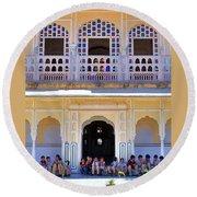 Schoolchildren At The Women's Palace - Jaipur India Round Beach Towel