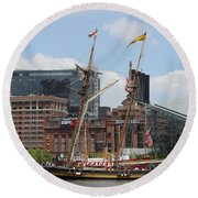Schooner Arriving At Baltimore Inner Harbor Round Beach Towel