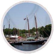 Schooner - Camden Harbor - Maine Round Beach Towel