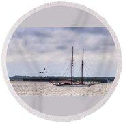 Schooner Sailing Past Fort Sumter Round Beach Towel