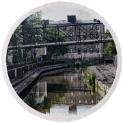 Schuylkill Canal In Manayunk Round Beach Towel by Bill Cannon