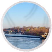 Schuylkill River At Boathouse Row And  The Fairmount Waterworks Round Beach Towel by Bill Cannon