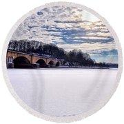 Schuylkill River - Frozen Round Beach Towel